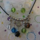 Summer Beaded Necklace With Green Earrings