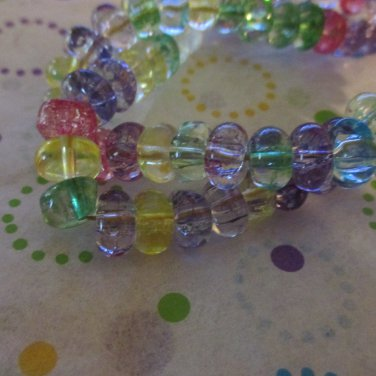 """Cracked Glass Rondelle Beads, 8x4mm - 1 16"""" Strand"""