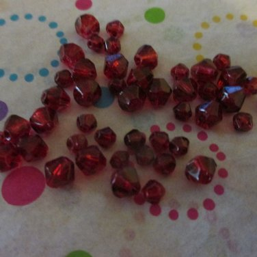Red Glass Bicone Beads - Set of 48