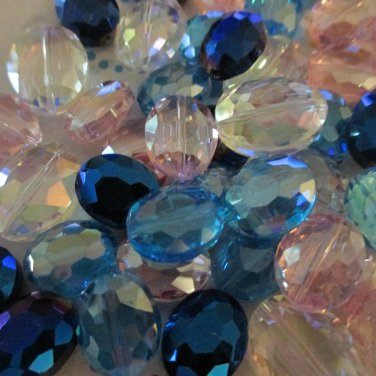 Glass Puffed Faceted Ovals, Mixed Colors - 24 Beads