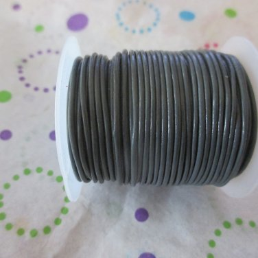 1 mm Grey Leather Cord - 25 Yards