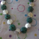 Green and Silver Beaded Fashion Necklace