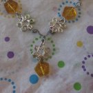 Yellow Glass Beads with Silver Flower Necklace