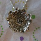 Antiqued Silver Flower Fashion Necklace