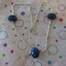 Blue Agate on Silver Chain