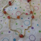 Light Brown Agate Beads on Gold Chain