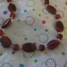 Red Agate and Silver Necklace