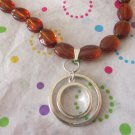 Amber Brown Glass Necklace with Pendant