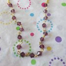 Purple Crystals and Gold Chain Necklace