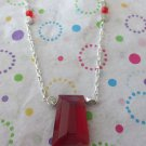 Red Glass and Silver Chain Necklace