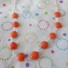 Orange Jade and Silver Necklace