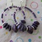 Big Purple Wood and Glass Earrings