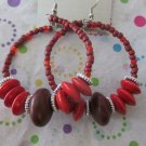 Big Red Glass and Wood Earrings