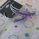 Purple  Bead Silver Hoop Earrings