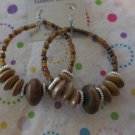 Big Light Brown Wood and Glass Earrings