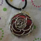 Silver and Red Rose Necklace