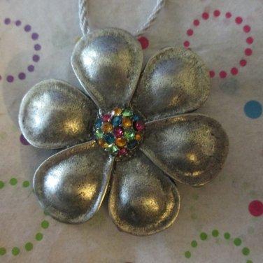 Pewter Flower Pendant Necklace