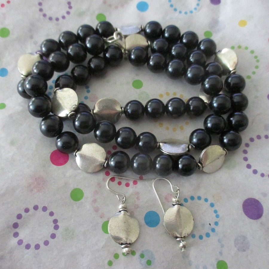 """Black and Silver Necklace 26"""""""