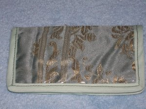 Green Satin Checkbook Cover, Wallet or Coupon Holder-*reduction*