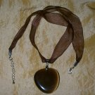 Lg, Brown Stone Ribbon 18in Necklace