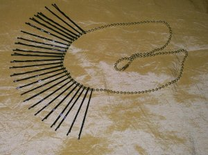 Gold, Blk, Lg, Bobbie Pin Necklace 24 in