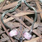 7 1/2 in. Snake Chain Bracelet w/pink beads & heart bead.