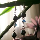Black Pearl Beads with Swarovski Crystals Earrings