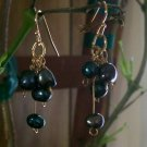 Blackish/Blue Fresh Water Pearl Cluster Earrings