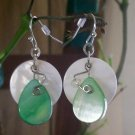 Mother of Pearl Green & White With Swarovski Crystal Earrings