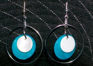 Blue & White Mother of Pearl Earrings