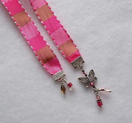 Ribbon Bookmark with Butterfly Charm, Pink,
