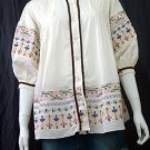 WHITE FLUFF SLEEVES BOHO FLORAL EMBROIDERY COTTON TOP