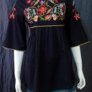 BLACK BABYDOLL BOHO FLARED SLEEVE FLORAL EMBROIDERY TOP