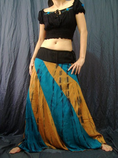 GREEN/BROWN GYPSY BOHO TIE DYE DRAWSTRING LONG SKIRT