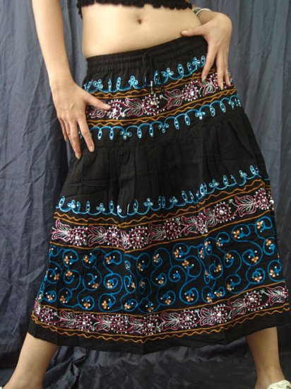 Black Gypsy Boho Tiered Blue Embroidery Sequins Drawstring Skirt