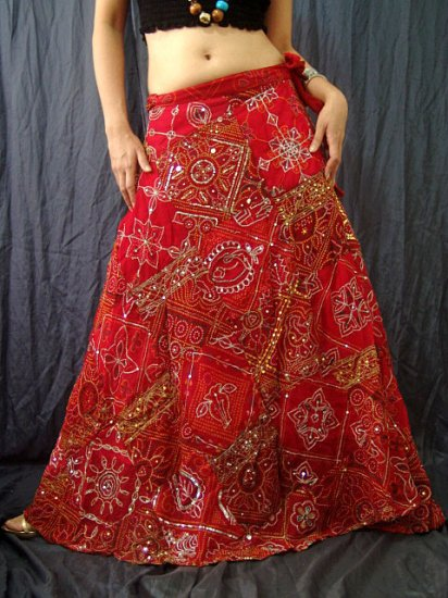 Red Viscose Gypsy Bohemian Ethnic Patchwork Sequins Wraparound Long Skirt