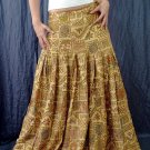Handsewn beads! Light Brown Gypsy Boho Ethnic Floral Print Cotton Drawstring Long Skirt