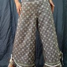 Dark Blue Ethnic Boho Beaded Wide-legged Drawstring Long Pants