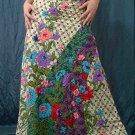 Handsewn beads! Beige Batik Foho Ethnic Floral Print Cotton Drawstring Long Skirt
