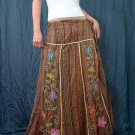 Brown Gypsy Foho Ethnic Floral Handsewn Beads Sequins Cotton Drawstring Long Skirt
