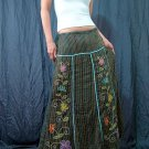 Green Gypsy Foho Ethnic Floral Handsewn Beads Sequins Cotton Drawstring Long Skirt