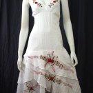 White Beach Resort Halter V-Neck Red Floral Cotton Dress