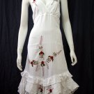 White Resort Halter V-Neck Red Floral Cotton Pixel Hem Dress