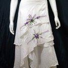 White Cotton Purple Floral Embroidery Wraparound Beach Skirt/Top