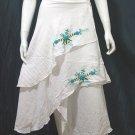 White Cotton Light Blue Floral Embroidery Beach Wraparound Skirt/Top