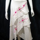 White Cotton Hot Pink Floral Embroidery Beach Wraparound Skirt/Top