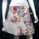 White Vintage Style Japanese Floral Cotton Short Wraparound Skirt