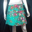 Light Green Vintage Style Japanese Floral Cotton Short Wraparound Skirt