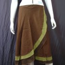 Green Tri-layer Knee length Beach Resort Cotton Wrapround skirt / Halter Top