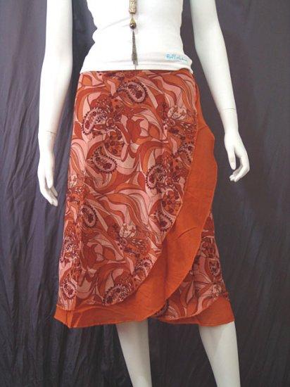 Brown 2-layer Printed Knee length Beach Resort Cotton Wrapround skirt / Halter Top
